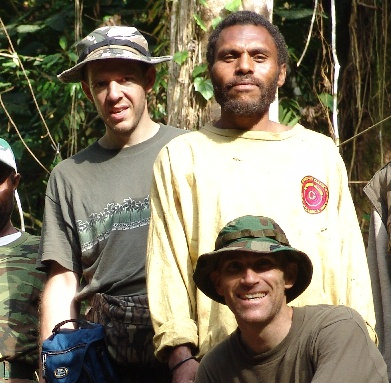 David Woetzel (left) and Garth Guessman (lower right) during their 2004 expedition on Umboi Island, Papua New Guinea
